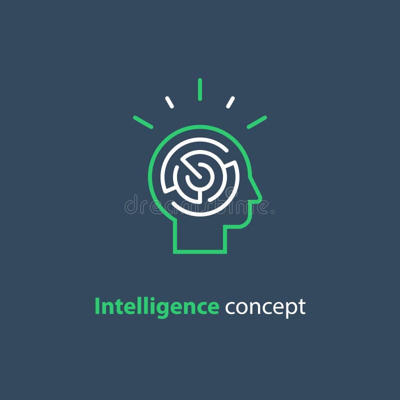 Logotipo do conceito da psicologia, ícone do jogo da estratégia, inteligência emocional ilustração royalty free