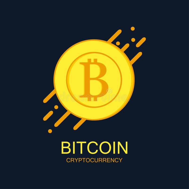 Logotipo do conceito de Bitcoin Sinal de Cryptocurrency com linhas arredondadas dinamic Dinheiro de Digitas e bandeira da tecnolo ilustração stock
