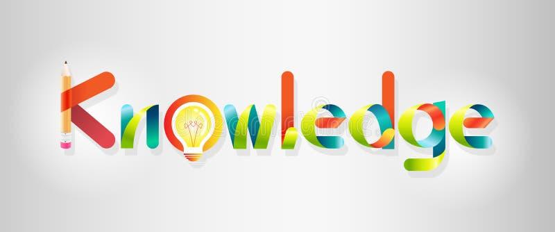 Logotipo do conhecimento estilo colorido do gráfico e de fonte ilustração stock