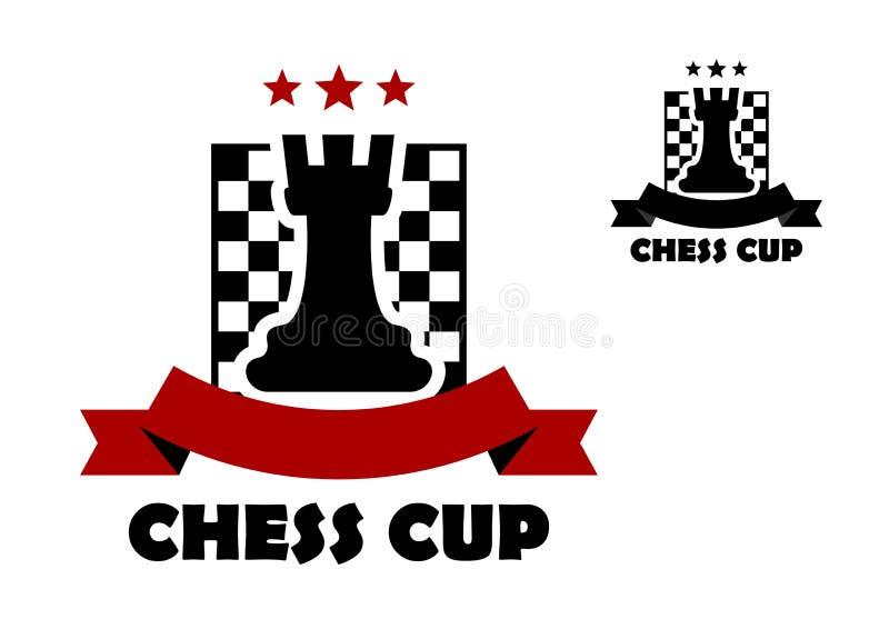 Logotipo do copo da xadrez ou molde do emblema ilustração do vetor