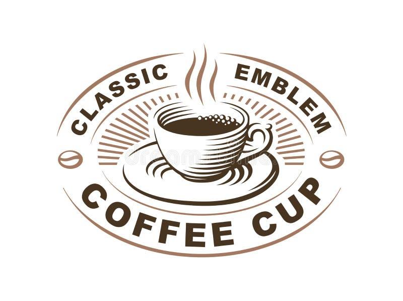 Logotipo do copo de café - vector a ilustração, emblema no fundo branco ilustração do vetor