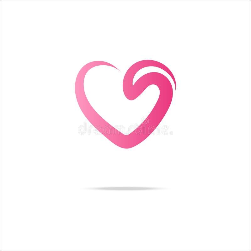 Logotipo do coração com redemoinho ilustração stock