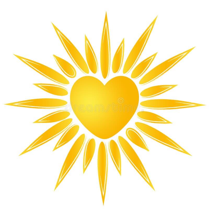 Logotipo do coração de Sun ilustração royalty free