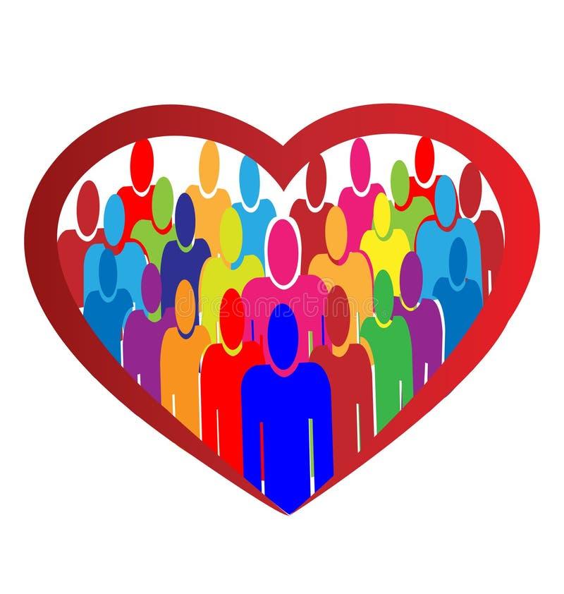 Logotipo do coração dos povos da diversidade ilustração stock
