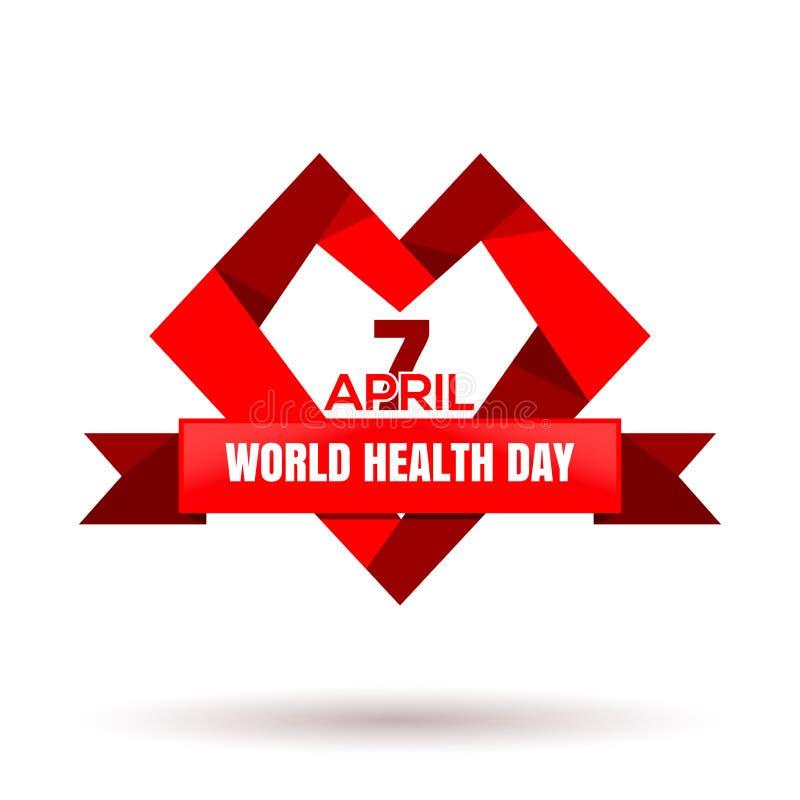 Logotipo do coração para o dia de saúde de mundo 7 de abril ilustração stock