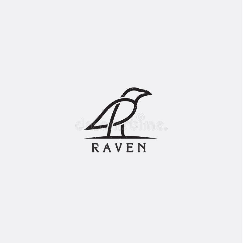 Logotipo do corvo do vintage ilustração do vetor