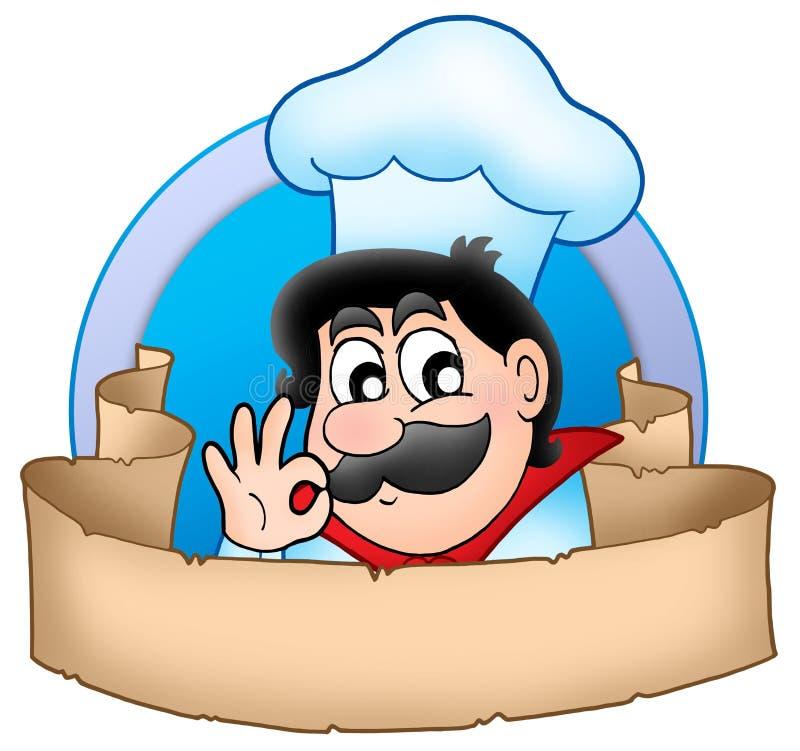 Logotipo do cozinheiro chefe dos desenhos animados com bandeira ilustração royalty free