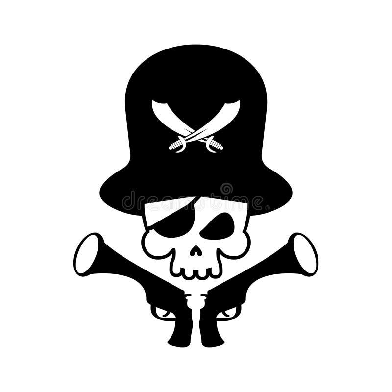 Logotipo do crânio do pirata cabeça do esqueleto e da arma Pirateie o símbolo Vect ilustração royalty free