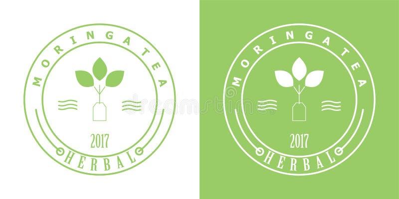 Logotipo do crachá do chá de Moringa ilustração stock