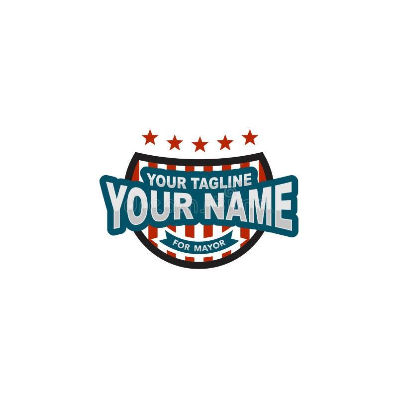 Logotipo do crachá da eleição de América ilustração stock