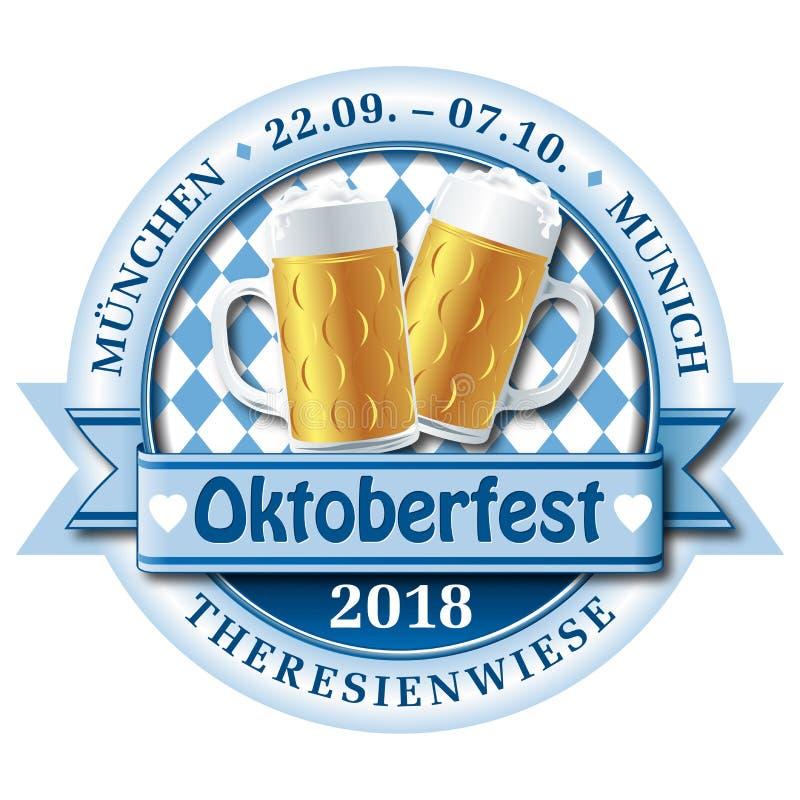 Logotipo do crachá do vetor de Oktoberfest 2018 ilustração do vetor