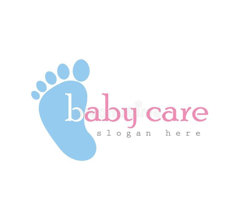 Logotipo do cuidado do bebê, ícone do vetor da cópia do pé, das aderências pés da ilustração do vetor ilustração royalty free