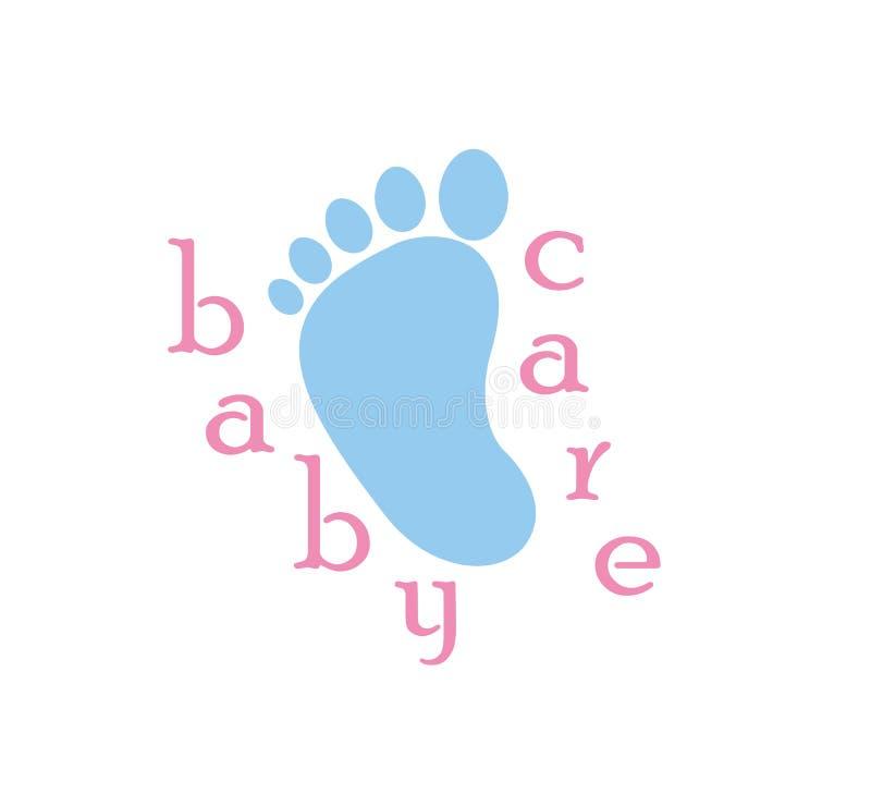 Logotipo do cuidado do bebê, ilustração do vetor do ícone da cópia do pé ilustração stock