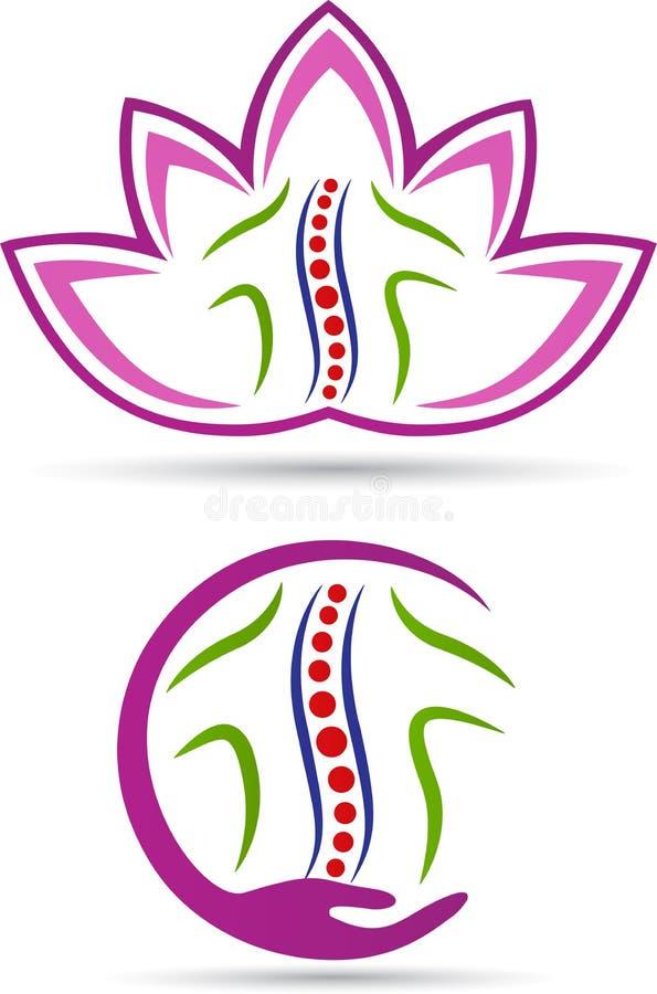 Logotipo do cuidado da espinha ilustração stock