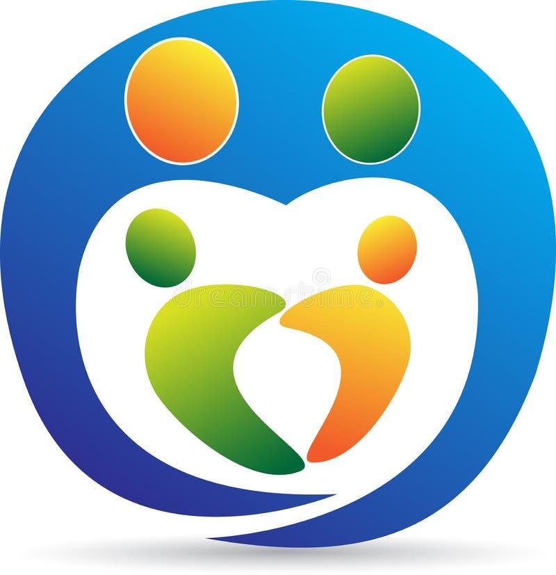 Logotipo do cuidado da família ilustração do vetor