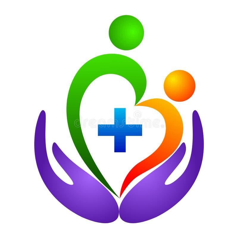 Logotipo do cuidado do coração ilustração do vetor