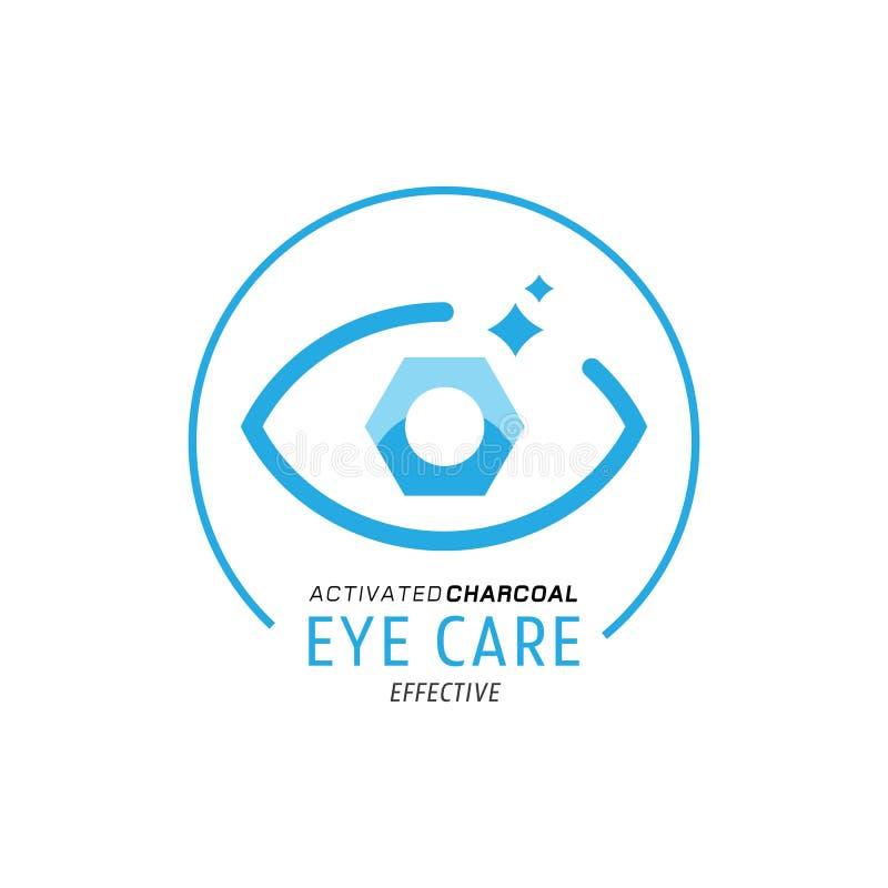 Logotipo do cuidado do olho com o carvão vegetal sextavado dado forma ilustração royalty free