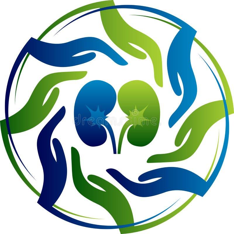 Logotipo do cuidado do rim ilustração royalty free