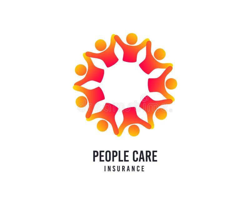 Logotipo do cuidado dos povos Ícone do vetor do seguro do hospital Logotipo médico dos cuidados médicos ilustração do vetor