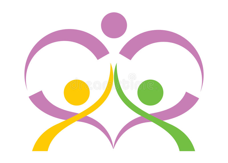 Logotipo do cuidado dos povos ilustração royalty free