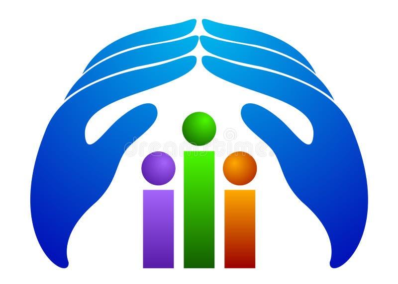 Logotipo do cuidado dos povos ilustração do vetor