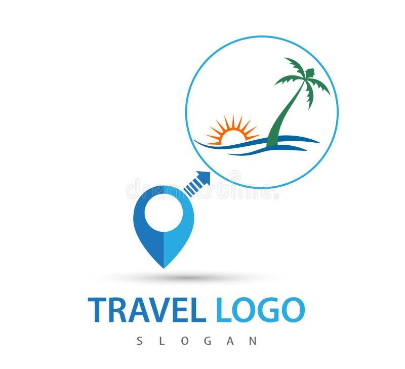 Logotipo do curso, ilustração do vetor da praia - molde do vetor ilustração do vetor