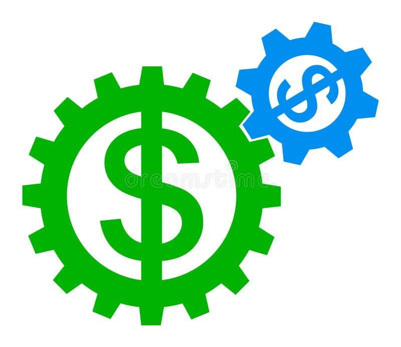 Logotipo do dólar da engrenagem ilustração royalty free