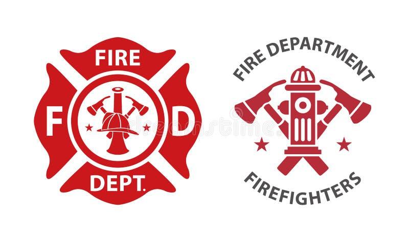 Logotipo do departamento dos bombeiros ilustração royalty free