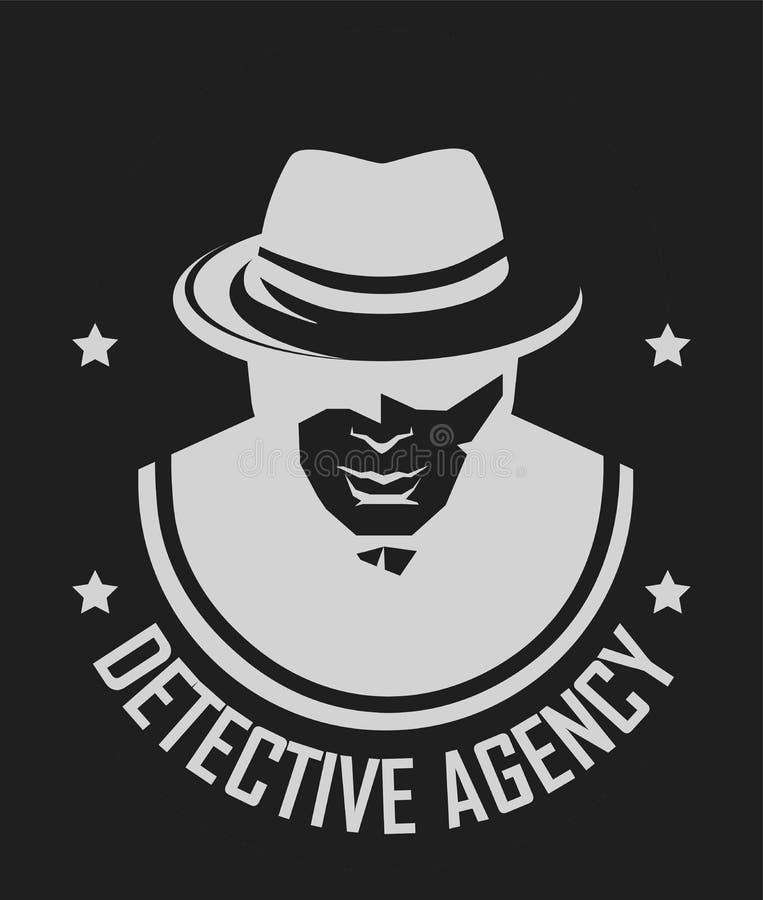Logotipo do detetive privado do homem do vetor no chapéu para a agência de serviço da investigação ilustração stock