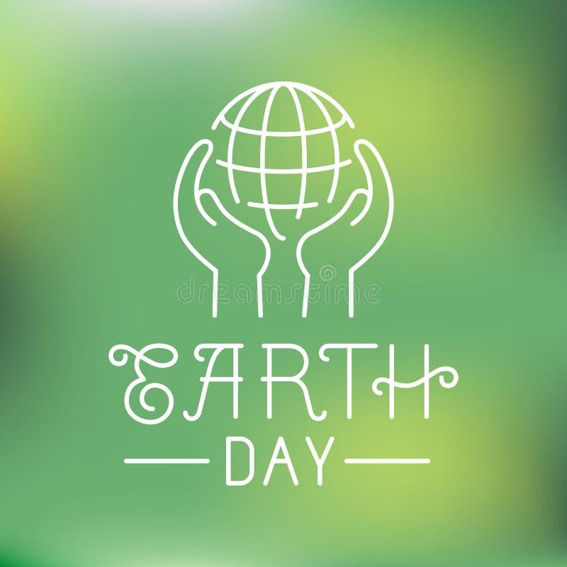 Logotipo do Dia da Terra do vetor no estilo linear ilustração do vetor