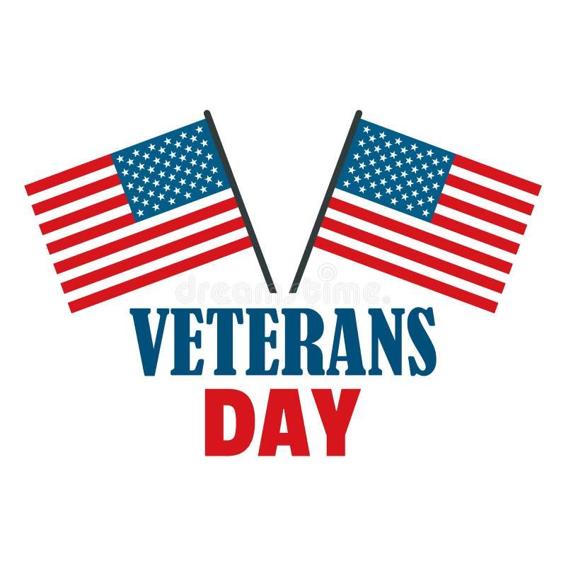 Logotipo do dia de veteranos da bandeira dos EUA, estilo liso ilustração royalty free