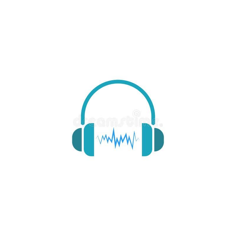 Logotipo do DJ dos fones de ouvido, onda sadia do ícone da música ilustração do vetor