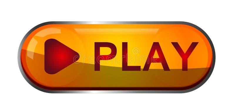 Logotipo do elemento do sinal do ícone do botão do jogo no vermelho e na cor do ouro no fundo branco ilustração do vetor