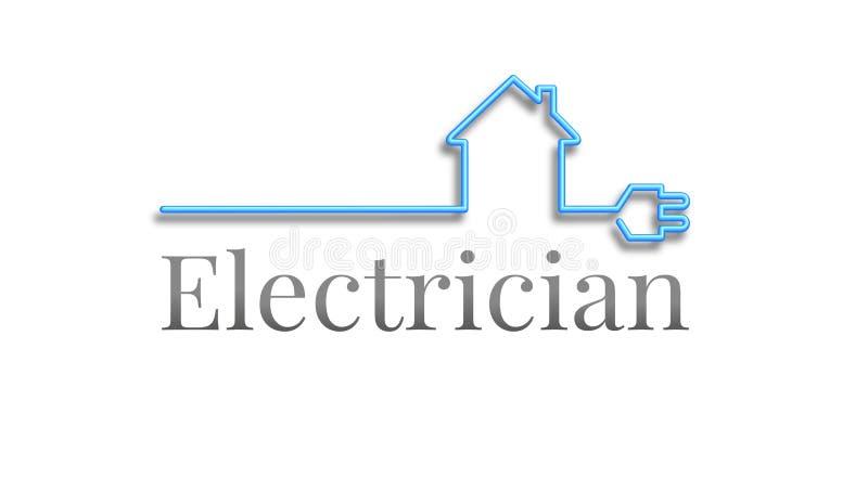 Logotipo do eletricista, casa fora de um cabo ilustração stock