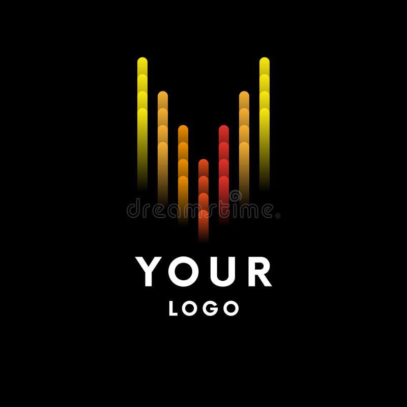 Logotipo do equalizador da música no fundo preto Ilustração do vetor ilustração stock