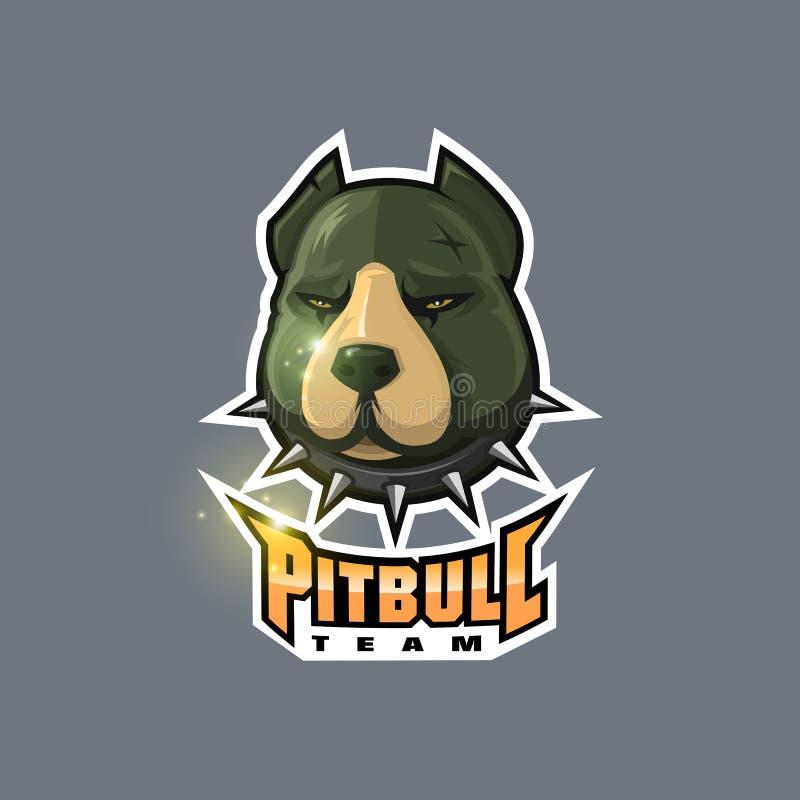Logotipo do esport da cabeça de cão de Pitbull ilustração royalty free