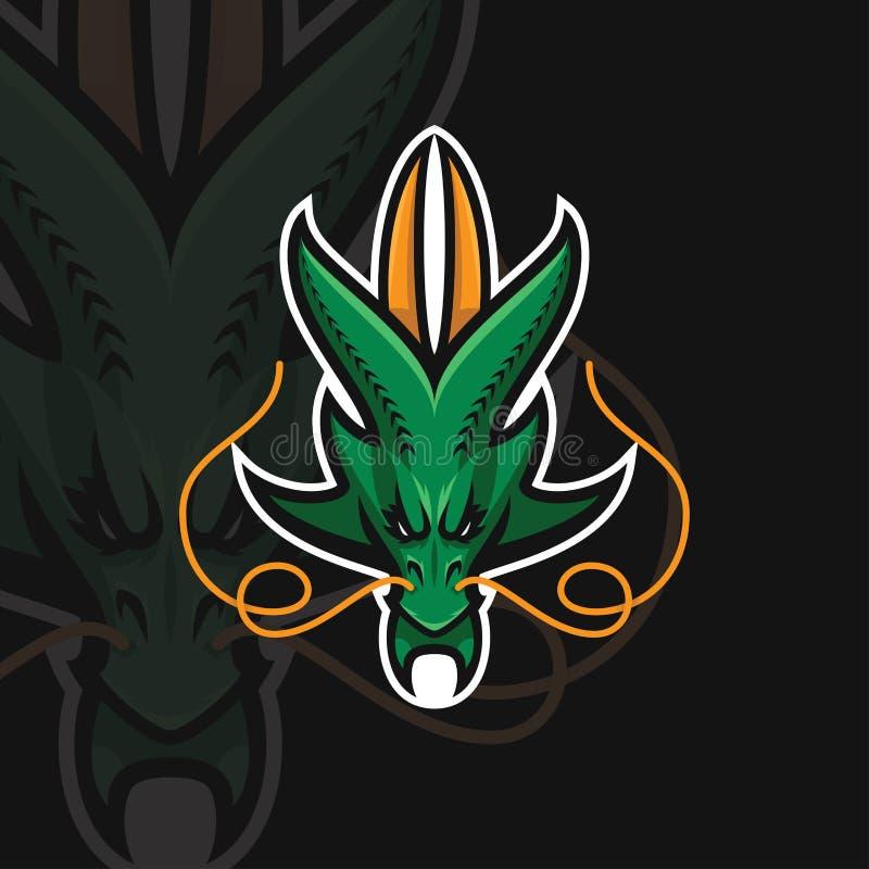 Logotipo do esporte do dragão e ilustração do vetor