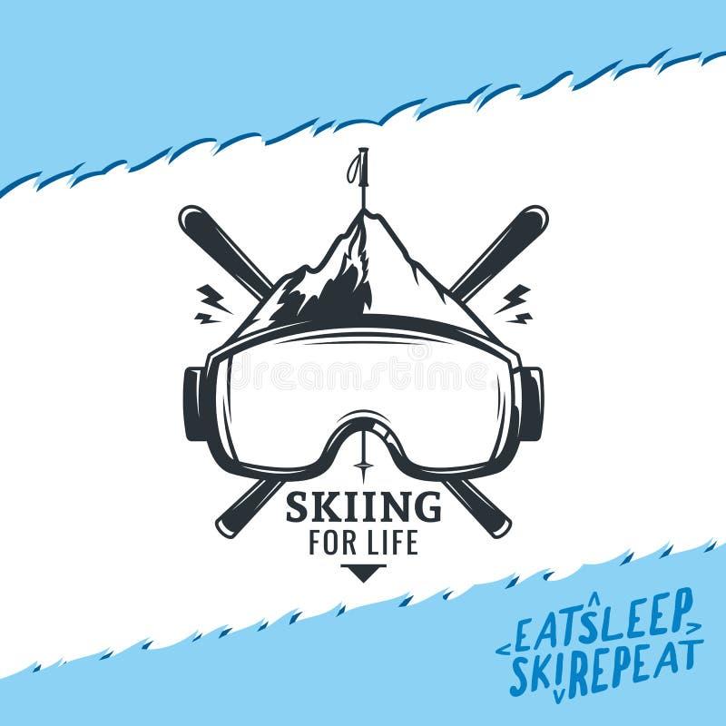 Logotipo do esqui do vetor ilustração stock