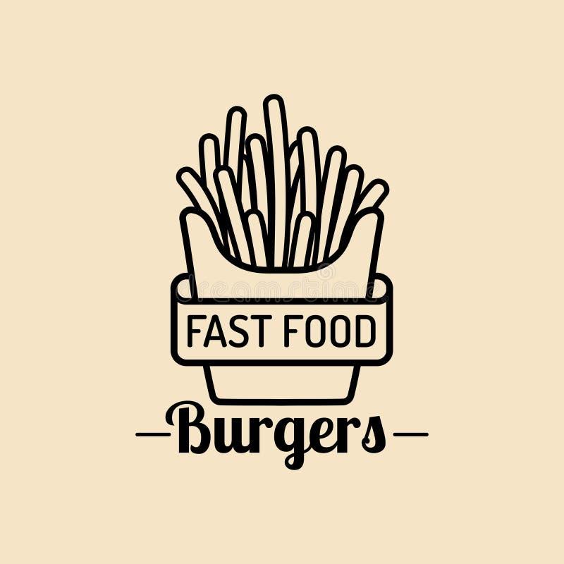 Logotipo do fast food do vintage do vetor Sinal retro das batatas da fritada Ícone dos restaurantes Emblema do restaurante para o ilustração royalty free