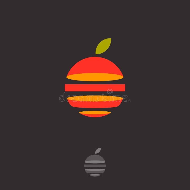 Logotipo do fruto Emblema abstrato do fruto Corte a esfera e a folha alaranjadas ilustração royalty free