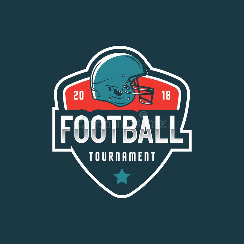 Logotipo do futebol americano emblema do esporte, crachá Ilustração do vetor ilustração royalty free