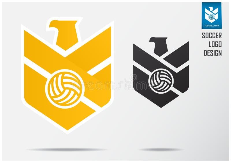 Logotipo do futebol ou projeto do molde do crach? do futebol para a equipa de futebol Projeto do emblema do esporte da águia dour ilustração royalty free