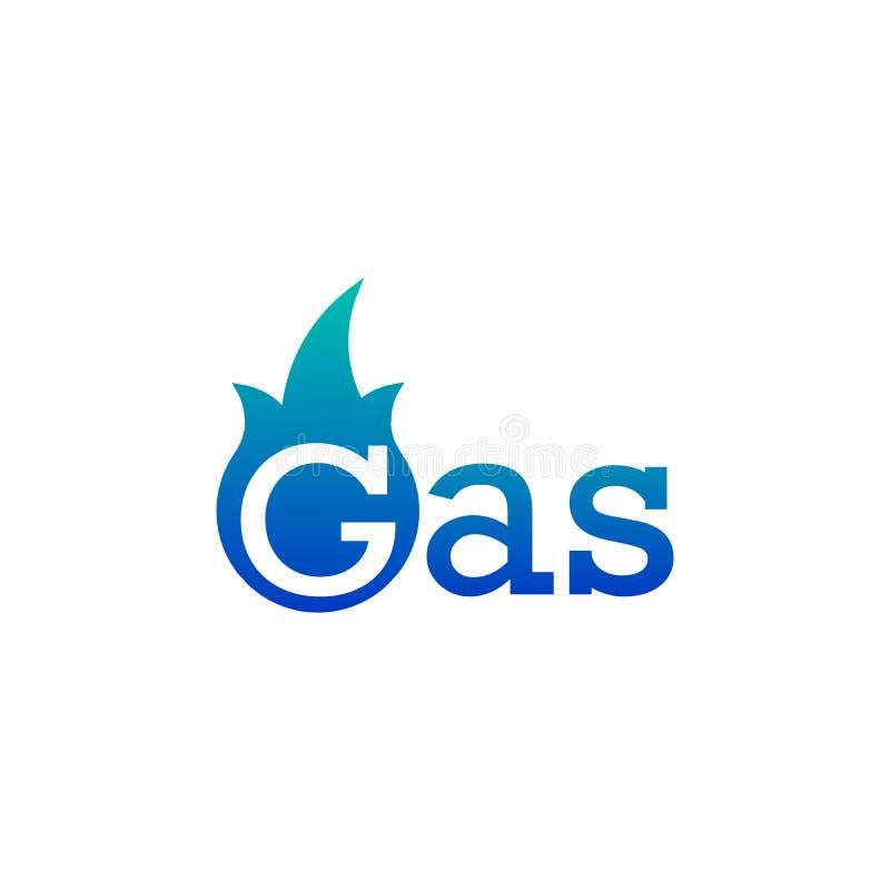 Logotipo do gás natural, conceito da empresa da chama azul Ilustração do vetor isolada no fundo branco ilustração royalty free