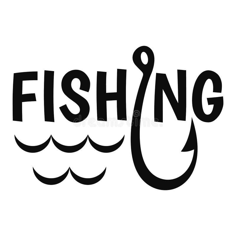 Logotipo do gancho de pesca do lago, estilo simples ilustração do vetor