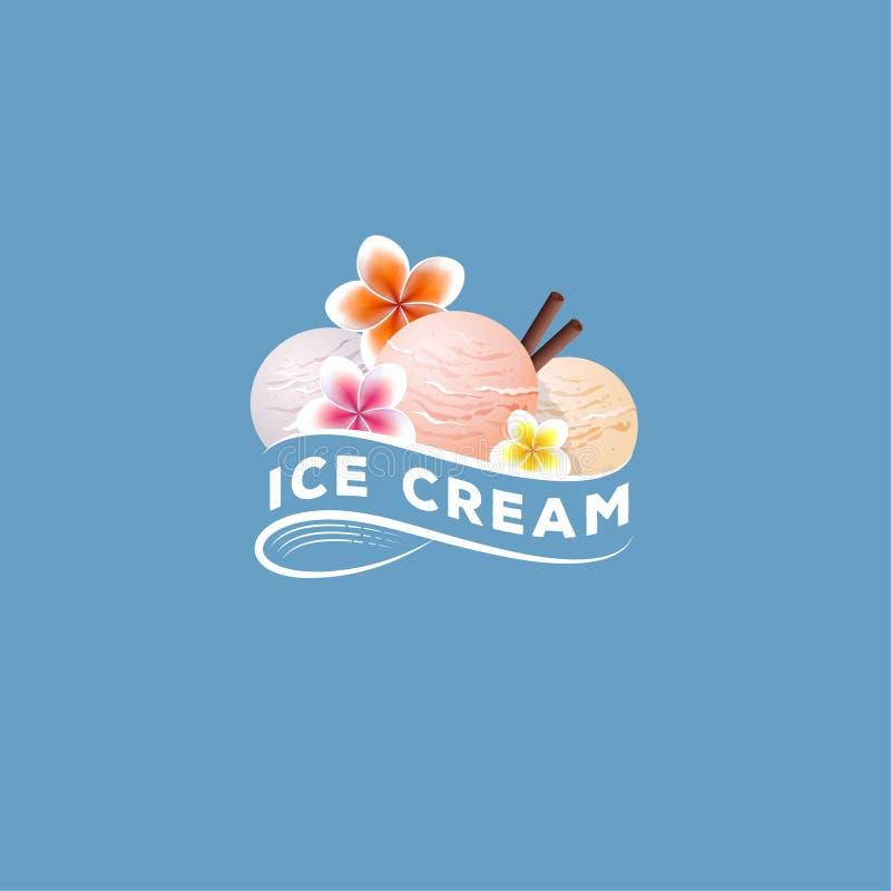 Logotipo do gelado Três colheres do gelado Sobremesa doce com flores e as varas de canela tropicas ilustração do vetor