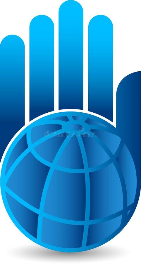 Logotipo do globo da mão ilustração stock