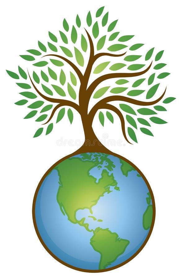 Logotipo do gráfico da árvore da terra ilustração stock