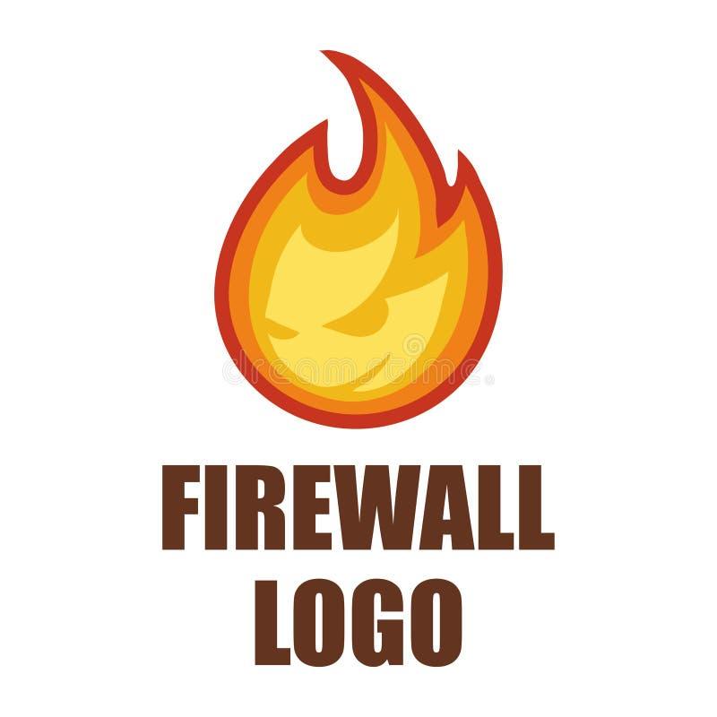 Logotipo do guarda-fogo Logotipo da proteção Emblema da segurança do Cyber ilustração do vetor