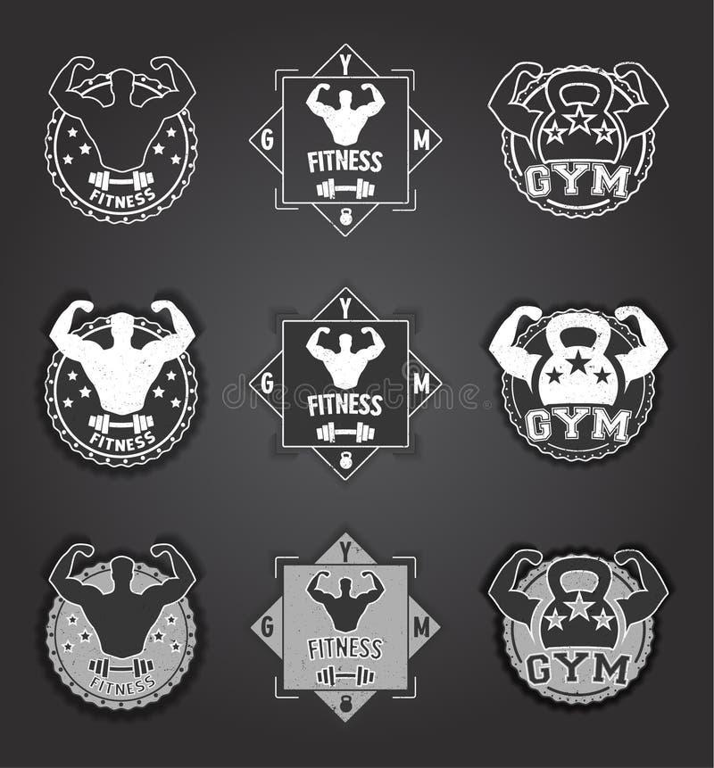 Logotipo do Gym Grupo de emblemas monocromáticos da aptidão, de etiquetas, de crachás, de logotipos e de elementos projetados pod ilustração stock