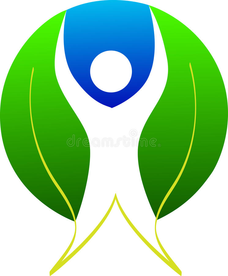 Logotipo do homem da folha ilustração do vetor